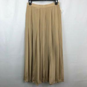 Carlisle Tan Pleated Front Split Silk Long Skirt 6
